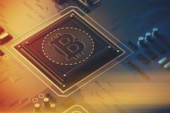 Błękitna obwód deska, procesor, bitcoin ikona tonująca ilustracji
