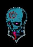 Błękitna Occult czaszka Obrazy Stock