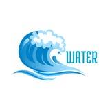Błękitna ocean fala z piankowymi bąblami Zdjęcie Royalty Free