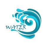 Błękitna ocean fala z wodnymi zawijasami Obraz Stock