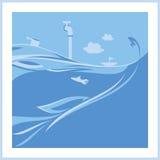Błękitna ocean ilustracja Obraz Royalty Free
