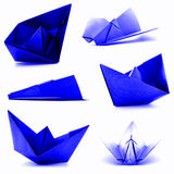 Błękitna origami kolekcja, samolot, statku photoset odizolowywający na białym tle Obraz Stock