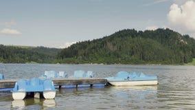 Błękitna paddle łódź zbiory wideo