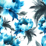 Błękitna peonia kwiaty blisko tła strukturę, Obrazy Stock