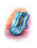 Błękitna pióro skrzynka z ołówkami inside na białej tło ręce rysującej w rcolored ołówkach Obrazy Stock