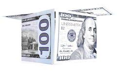 Błękitna pieniądze chałupa, dolarowa kabina, waluty hutch, banknotu dom Zdjęcie Royalty Free