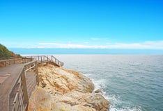 Błękitna plaża i morze obrazy stock