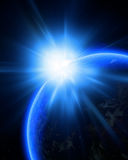 Błękitna planety ziemia w kosmosie Fotografia Stock