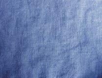 Błękitna pościel textured wyplatający tkaniny tło Zdjęcia Royalty Free