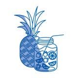 Błękitna podcieniowanie sylwetka ananasowa owoc i butelka z cytrusem pijemy ilustracji