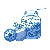 Błękitna podcieniowanie sylwetka butelka z odświeżać pomarańczowego napój ilustracji