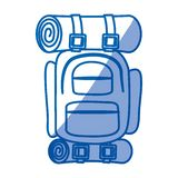 Błękitna podcieniowanie sylwetka campingowy plecak ilustracji