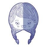 Błękitna podcieniowanie sylwetka kawaii głowa śliczna mała dziewczynka z galonowym włosy i ono uśmiecha się royalty ilustracja