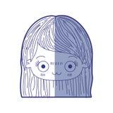 Błękitna podcieniowanie sylwetka kawaii głowa śliczna mała dziewczynka z prostym włosy i wyraz twarzy deprymujący royalty ilustracja