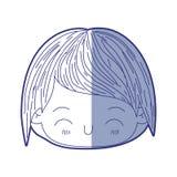 Błękitna podcieniowanie sylwetka kawaii głowa chłopiec z szczęście wyrazem twarzy royalty ilustracja