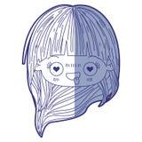 Błękitna podcieniowanie sylwetka kawaii głowy mała dziewczynka z długie włosy i wyraz twarzy enamored royalty ilustracja