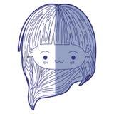 Błękitna podcieniowanie sylwetka kawaii głowy mała dziewczynka z długie włosy i wyraz twarzy wyczerpujący ilustracja wektor