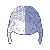Błękitna podcieniowanie sylwetka kawaii głowy mała dziewczynka z galonową włosy i wyrazu twarzy obmierzłością royalty ilustracja