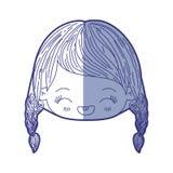 Błękitna podcieniowanie sylwetka kawaii głowy mała dziewczynka z galonowy włosy i wyrazu twarzy śmiać się royalty ilustracja