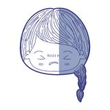 Błękitna podcieniowanie sylwetka kawaii głowy mała dziewczynka z galonowym włosy i wyraz twarzy gniewny z zamkniętymi oczami royalty ilustracja