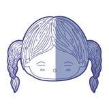 Błękitna podcieniowanie sylwetka kawaii głowy mała dziewczynka z galonowym włosy i wyraz twarzy męczący ilustracja wektor