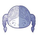 Błękitna podcieniowanie sylwetka kawaii głowy mała dziewczynka z galonowym włosy i wyrazu twarzy szczęściem z zamkniętymi oczami royalty ilustracja