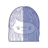 Błękitna podcieniowanie sylwetka kawaii głowy mała dziewczynka z prostym włosy i wyraz twarzy zanudzający royalty ilustracja
