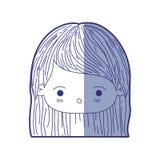 Błękitna podcieniowanie sylwetka kawaii głowy mała dziewczynka z prostym włosy i wyraz twarzy zaskakujący ilustracji