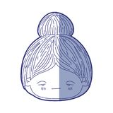 Błękitna podcieniowanie sylwetka kawaii głowy mała dziewczynka z zbierającym włosy i wyraz twarzy smutny ilustracja wektor