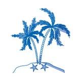 Błękitna podcieniowanie sylwetka wyspa z palmy drzewem ilustracji