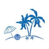 Błękitna podcieniowanie sylwetka wyspa z parasolem i plażową piłką ilustracja wektor