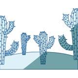 Błękitna podcieniowanie sylwetka z krajobrazem pustynia z kaktusem w zbliżeniu ilustracji