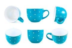 Błękitna polki kropki filiżanka odizolowywająca Obraz Royalty Free