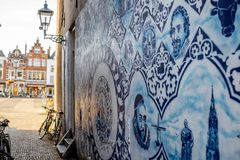 Błękitna porcelana w Delft miasteczku Fotografia Royalty Free
