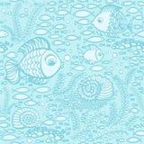 Błękitna ręka rysować ryba Tapetowy tekstylny bezszwowy ryba wzór Obrazy Royalty Free