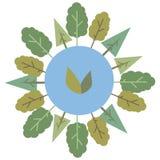 Błękitna round planety kula ziemska z emblematem zieleń liście otaczający zielonej drzewo światowej natury rysunkowym wektorem od ilustracja wektor