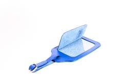 Błękitna rzemienna bagaż etykietka odizolowywająca na bielu fotografia stock