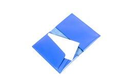 Błękitna rzemienna biznesowego imienia karciana kieszeń obrazy royalty free