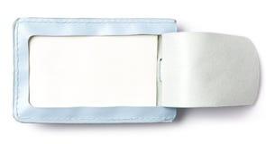 Błękitna rzemienna etykietki walizka Zdjęcie Royalty Free