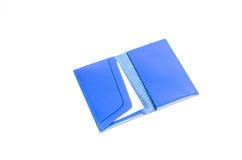 Błękitna rzemienna imię karciana kieszeń zdjęcie royalty free