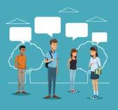 Błękitna scena z sylwetka krajobrazem i kolorowa grupowa studencka pozycja z dialog pudełkami ilustracji