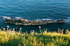Błękitna skała blisko Durdle drzwi i morze, Dorset, Jurajski wybrzeże Obraz Royalty Free
