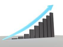 Błękitna strzała iść up pokazywać wzrost w wykresie Obrazy Royalty Free