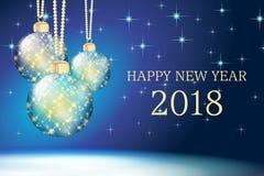 Błękitna szczęśliwa nowy rok karta 2018 Obrazy Stock