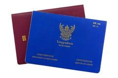 Błękitna Tajlandzka pozwolenie na prace książka na elektronicznym paszporcie odizolowywającym na wh Obraz Stock
