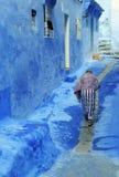 Błękitna ulica w Maroko Obrazy Royalty Free