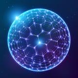 Błękitna wektorowa olśniewająca sfera z heksagonalną powierzchnią na ciemnym pozaziemskim tle Obrazy Stock