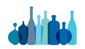 Błękitna wino butelki ilustracja royalty ilustracja