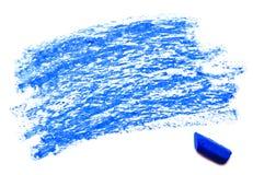 Błękitna wosk kredka odizolowywająca na bielu zdjęcia royalty free