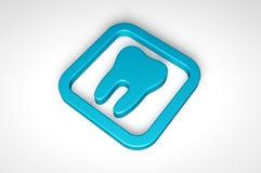 Błękitna ząb ikona odizolowywająca na białym tle Zdjęcie Royalty Free